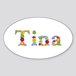 Tina Bright Flowers Oval Sticker